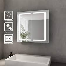 bad spiegelschrank mit beleuchtung led licht badezimmer spiegelschrank bad hängeschrank mit steckdose und kippschalter 2 türig