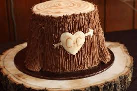 Rustic Stump Natural Look On Wooden Cake Stand