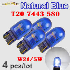 flytop 4 pieces lot 580 7443 w21 5w t20 blue glass xenon