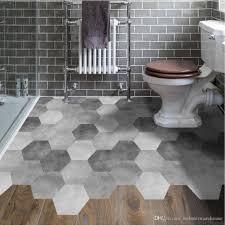 großhandel grau hexagon diy boden aufkleber rutschfeste selbstklebende aufkleber wohnzimmer schlafzimmer badezimmer dekor boden aufkleber küche wc