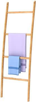 zri bamboo handtuchleiter handtuchständer leiter handtuchhalter regal mit 4 stangen eleganter kleiderständer für badezimmer wohnzimmer
