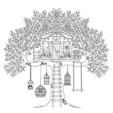 Treehouse Of Birds Coloring Page PageFull Size Image
