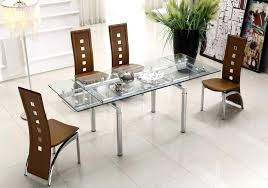 Dining Sets With Chairs Glass Table Set For 2 Extendable Clear Top Leather Modern P