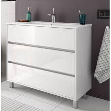 badmöbel set badezimmer möbel schrank 100 cm mit waschtisch weiß weiss