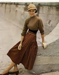 Chronically Vintage Fabulous 1940s Fall Fashion Inspiration Brown Skirt Sweater Knit Winter Colors Hat