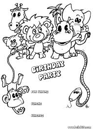 Animals Birthday Party Invitation Coloring Page