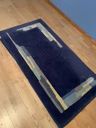 3 teppiche in blau mit gelb usw für diele schlafzimmer
