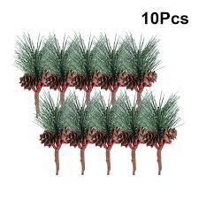 10 Piezas De PVC Artificial Pequeños Tallos De Pino Pican árboles Con Bayas De Piña Para Coronas De Flores Decoración Del Hogar Navidad
