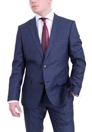hugo plaid suit hugo huge3 genius2 navy plaid with blue windowpane wool silk