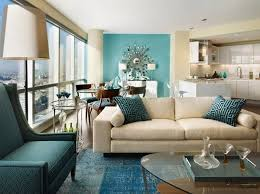 Living Room Contemporary Open Plan Teal Accent Wall White Sofa Armchair
