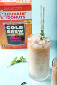 One Glass Of Dunkin Donuts Cold Brew With Homemade Vanilla Mint Creamer On A
