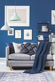 tadellose und weiße le über grauem sofa mit knotenkissen und blauer decke im wohnzimmer mit poster an der wand