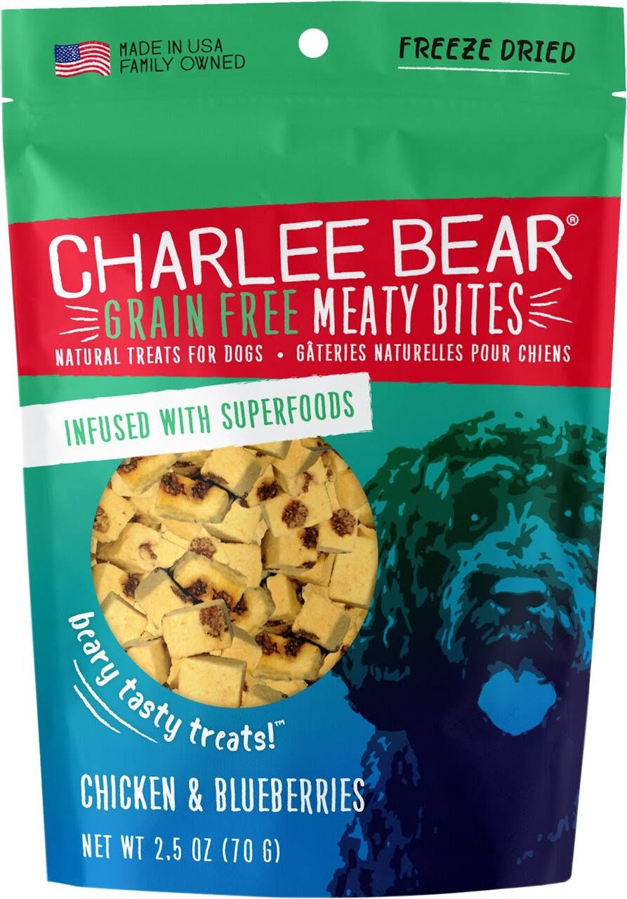 Charlee Bear Grain-Free Meaty Bites Dog Treats 2.5oz Chicken & Blueberry
