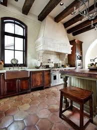 Simple Spanish Home Design With Elegant Interior Rustic Kitchen Travertine Tile Floor Lake