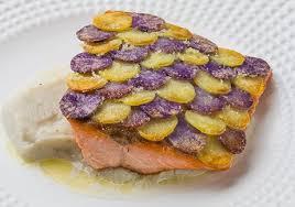 cuisiner des pommes de terre ratte truite en écaille de vitelotte rattes purée de topinambours