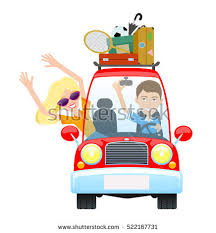 Man And Woman Driving In Red Car A Happy Family Travel