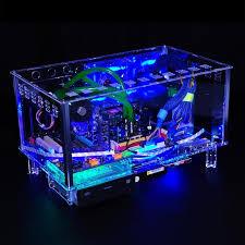 bureau boitier pc qdiy pc d779xm horizontale mircoatx htpc acrylique transparent de
