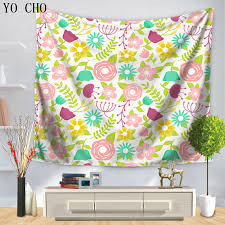 YO CHO Warm Color Wildflower Daisy Tapestry Polyester Fabiac Wall Hanging Home Decor Yoga Mat Table Cloth Bedspread Carpet In From