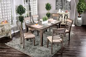 Ortanique Dining Room Table by Taylah Weathered Gray Fabric Solid Wood 7pc Dining Room Set