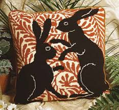 Boxing Hares Needlepoint Pillow Kit