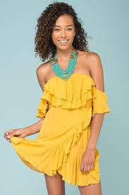 shop the audrina ruffled dress yellow mustard selfie leslie