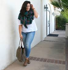 fall plaid scarf jeans bootie plus size 16 pretty