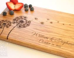 Personalized Cutting Board Dandelions Wedding Gift Custom Wood Kitchen Bridal Shower Anniversary