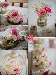 Vintage pink wedding decoration with paper flowers Vintage pink