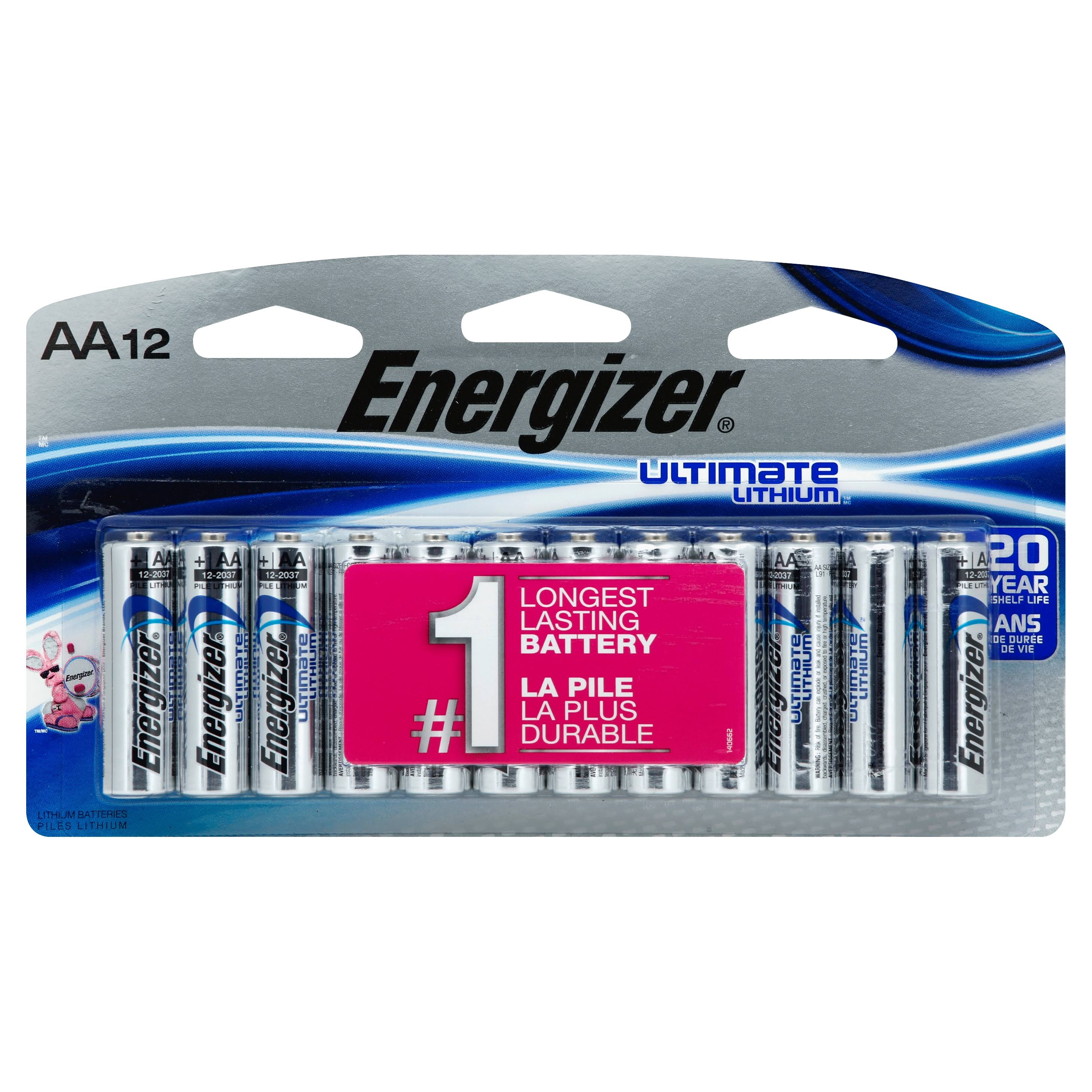 Energizer L91SBP-12 Ultimate Universal Battery - 12pk, Lithium AA