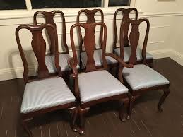 set of 6 ethan allen georgian court queen anne dining chairs with