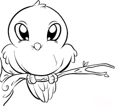 Cute Bird Sketch Coloring Pages Birds Sheets For Kids
