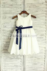 ivory cotton flower girl dress navy blue sash