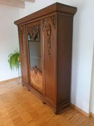 schrank antik vitrine deco bücherschrank jugendstil wohnzimmerschrank eiche