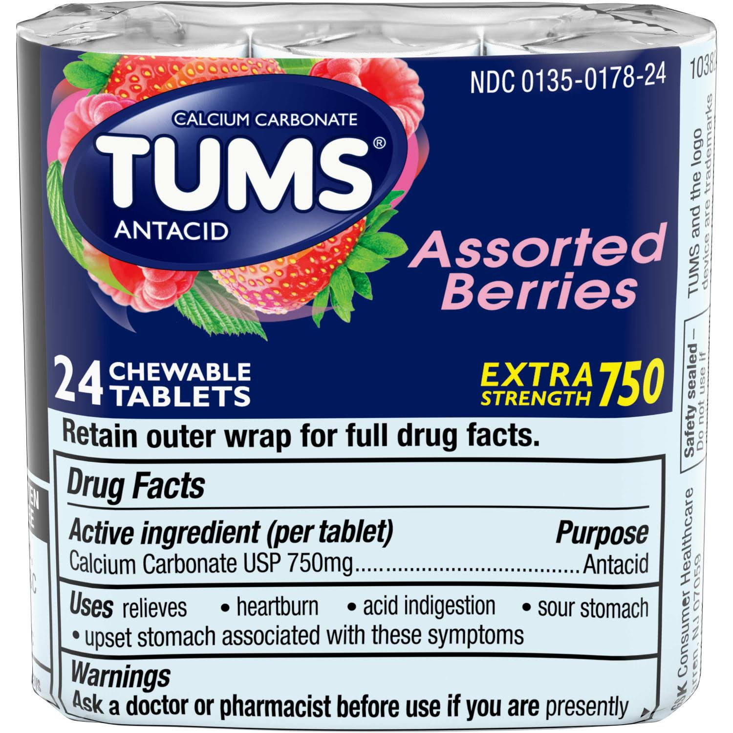 TUMS Extra Strength Antacid Chewable Tablets - Assorted Berries, 24 Count