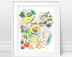 Chinese cooking five elements Healthy food poster Ve able print Kitchen art Watercolor