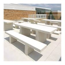 7 ft rectangular commercial concrete picnic table with detached