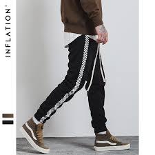 INFLATION 2017 Autumn Mens Sportswear Pants Stripe Side Trast Color Letter Printing Highstreet Vintage Men Sweatpants 349W17
