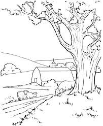 Farm At The Village Colouring Page Coloring