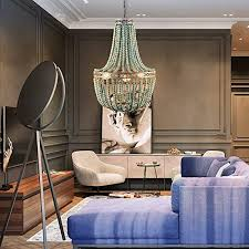 moderne loft vintage blau holzperlen pendelleuchte e27 led