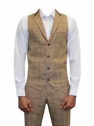 Mens Vintage 3 Piece Suits Herringbone Tweed Suit Tailored Fit Brown New Tan Check