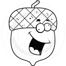 Nutty Acorn Black and White Line Art