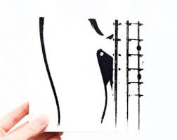 Music Wall Art Electric Bass Guitar Wood Canvas Black White 6 X