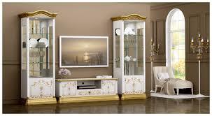 wohnwand rozza weiß gold vitrinen tv schrank barock klassik