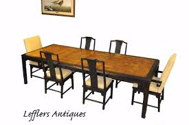 Asian Style Black Laquer Dining Room Table And Six Chairs Burled Top 112