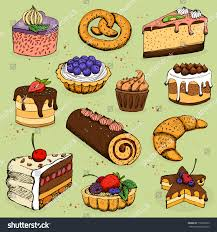 Pies and flour products for bakery pastry illustration