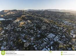 100 Hollywood Hills Houses Homes Morning Aerial Los Angeles Stock Photo Image