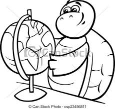 Vector Clip Art Of Turtle With Globe Coloring Page