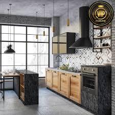 moderne loft küche damiana premium massivholzküche mit insel grau anthrazit eiche