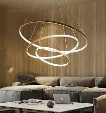 schwarz weiß goldene moderne anhänger lichter für wohnzimmer esszimmer 4 3 2 1 kreis ringe acryl aluminium körper led anhänger le