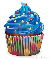 Illustration of blue cupcake with sprinkles 1806